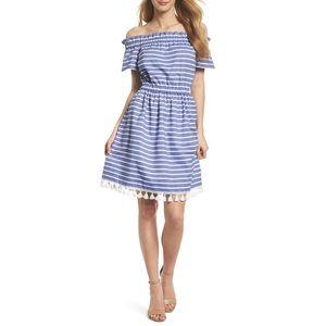 ELIZA J Stripe Off the Shoulder Dress Size 8